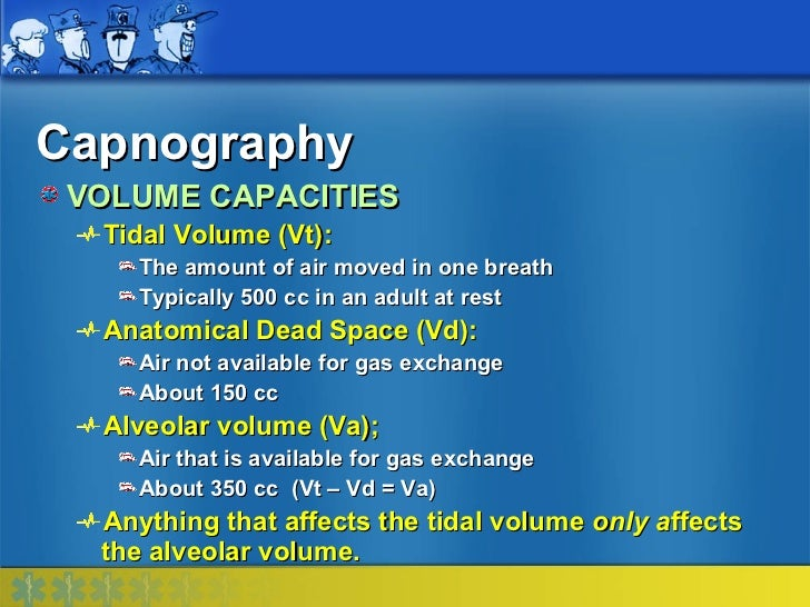 Capnography VOLUME CAPACITIES  Tidal Volume (Vt):    The amount of air moved in one breath    Typically 500 cc in an adult...