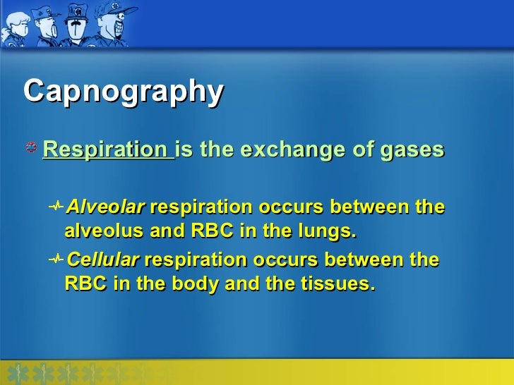 Capnography Respiration is the exchange of gases  Alveolar respiration occurs between the  alveolus and RBC in the lungs. ...