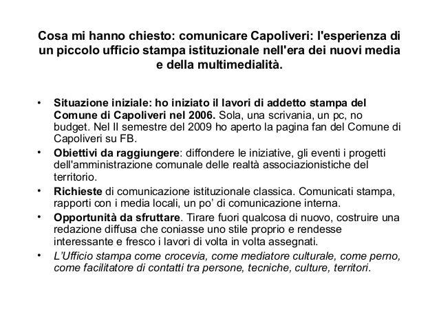 Cosa mi hanno chiesto: comunicare Capoliveri: l'esperienza di  un piccolo ufficio stampa istituzionale nell'era dei nuovi ...