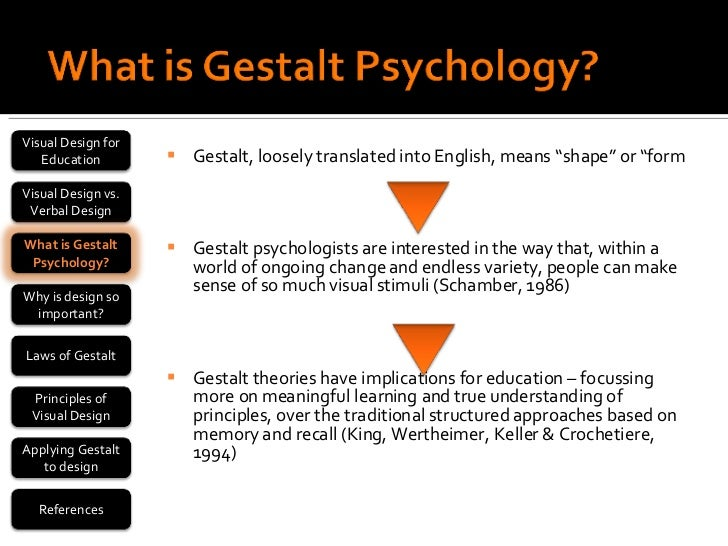 gestalt psychology reflection essay Psy 310 gestalt psychology reflection paper write a 700- to 1,050-word reflection on the main influences on gestalt psychology and how they contributed to its development include an example of each of the gestalt principles of perceptual organization (a specific example not just the definition.