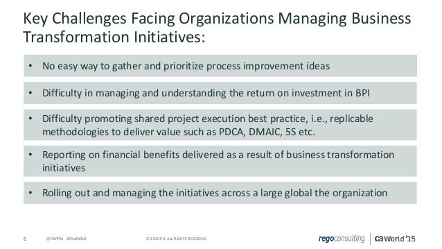 project management transformational corporate strategy How to manage a business transformation program the solution should optimize the overall level of organizational project management considering the new targeted environment programs and portfolios in alignment with the organizations strategic business goals.