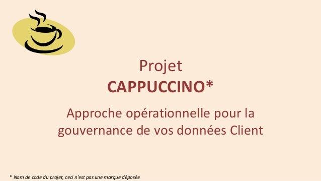Projet CAPPUCCINO* Approche opérationnelle pour la gouvernance de vos données Client  * Nom de code du projet, ceci n'est ...