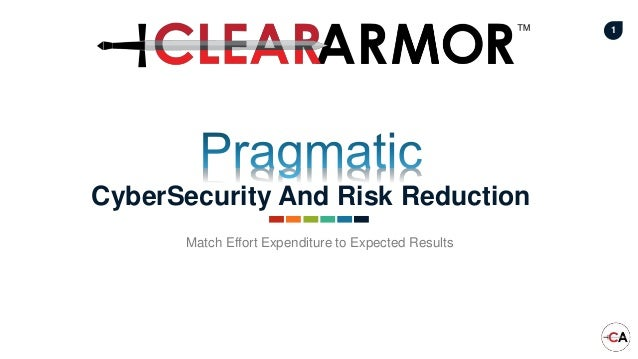 1 CyberSecurity And Risk Reduction Match Effort Expenditure to Expected Results