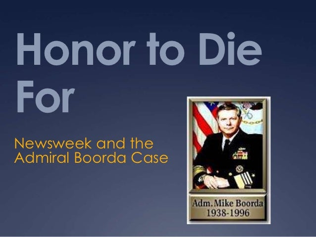 Honor to DieForNewsweek and theAdmiral Boorda Case