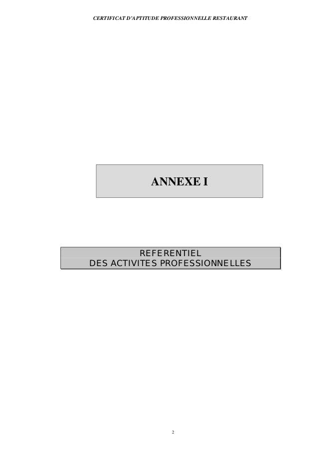 CERTIFICAT D'APTITUDE PROFESSIONNELLE RESTAURANT2ANNEXE IREFERENTIELDES ACTIVITES PROFESSIONNELLES