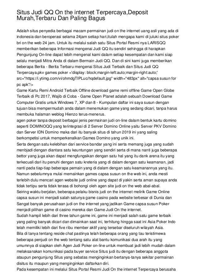 Situs Judi Qq On The Internet Terpercaya Deposit Murah Terbaru Dan Pa