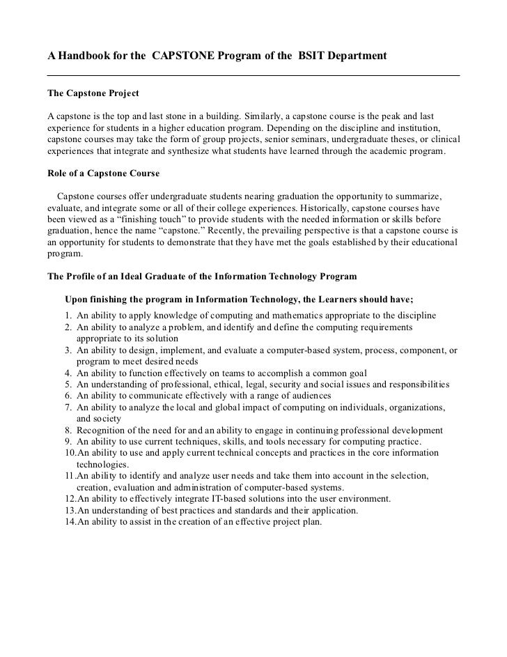 capstone handbook Du lis capstone project handbook, page 4 1 introduction: what is a capstone project the capstone project is an academic study that offers an opportunity to explore a particular issue in.