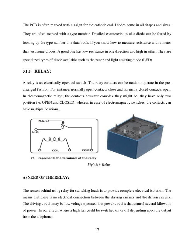 Automatic Control Of Electrical Appliances - Electromagnetic relay switch