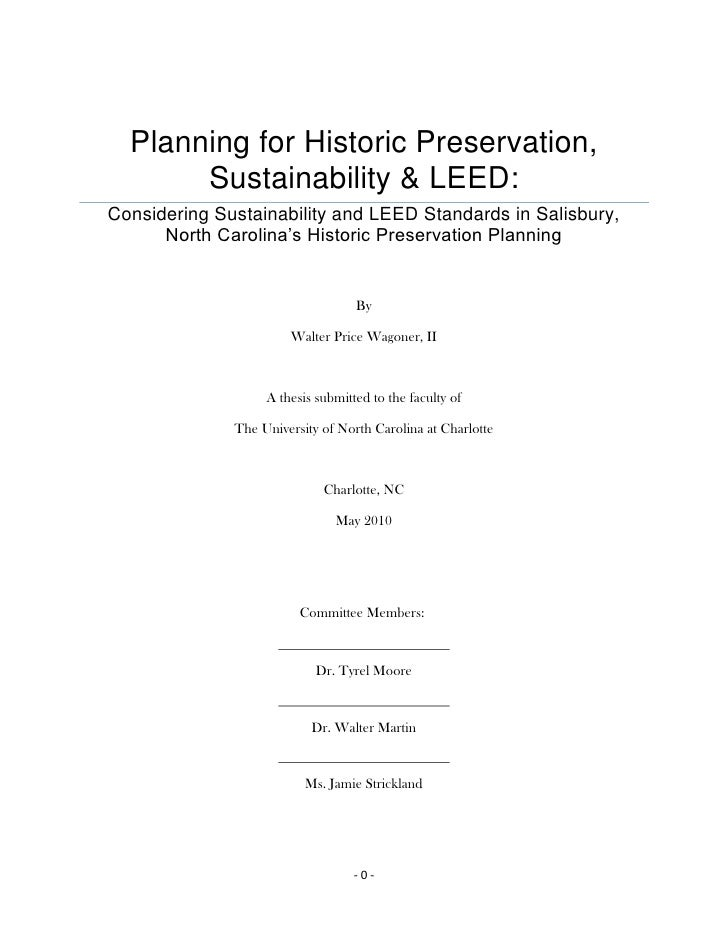 Planning for Historic Preservation, Sustainability & LEED:Considering Sustainability and LEED Standards in Salisbury, Nort...