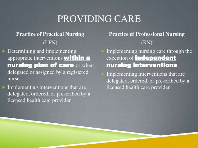 nurse practice act scope of 8 the plan care lpn school