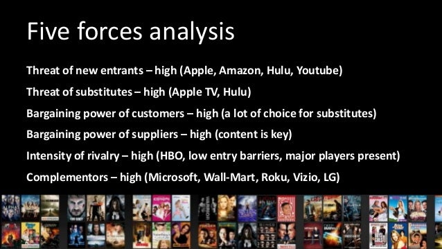 netflix five force analysis Netflix entered a market that porter affirms is driven by five forces these include the bargaining buyer of suppliers, threat of new entrants, bargaining power of buyers, threat of substitute products, and rivalry among existing competitor.