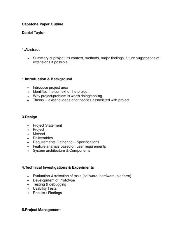 capstone outline report capstone paper outlinedaniel taylor1 abstract summary of project its context methods