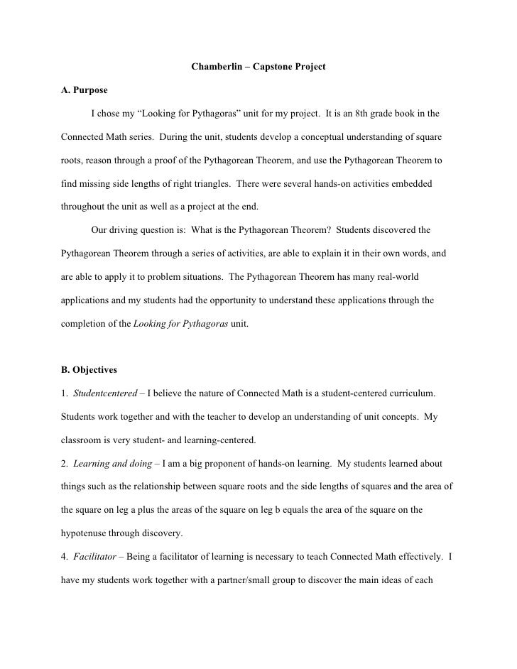 """Chamberlin – Capstone Project  A. Purpose         I chose my """"Looking for Pythagoras"""" unit for my project. It is an 8th gr..."""
