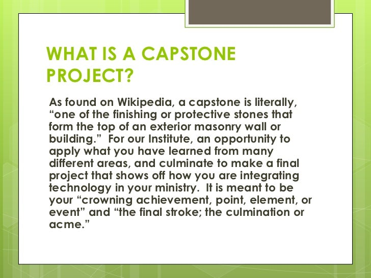 capstone project wikipedia If you've ever worked on a personal data science project, you've probably spent a   wikipedia contains an astonishing breadth of knowledge,.