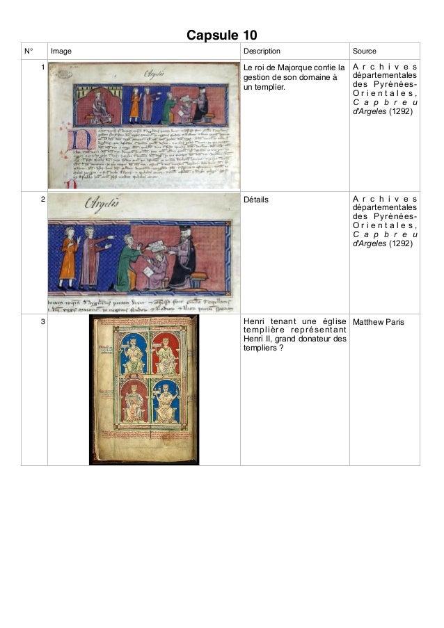 Capsule 10 N° Image Description Source 1 Le roi de Majorque confie la gestion de son domaine à un templier. A r c h i v e s...
