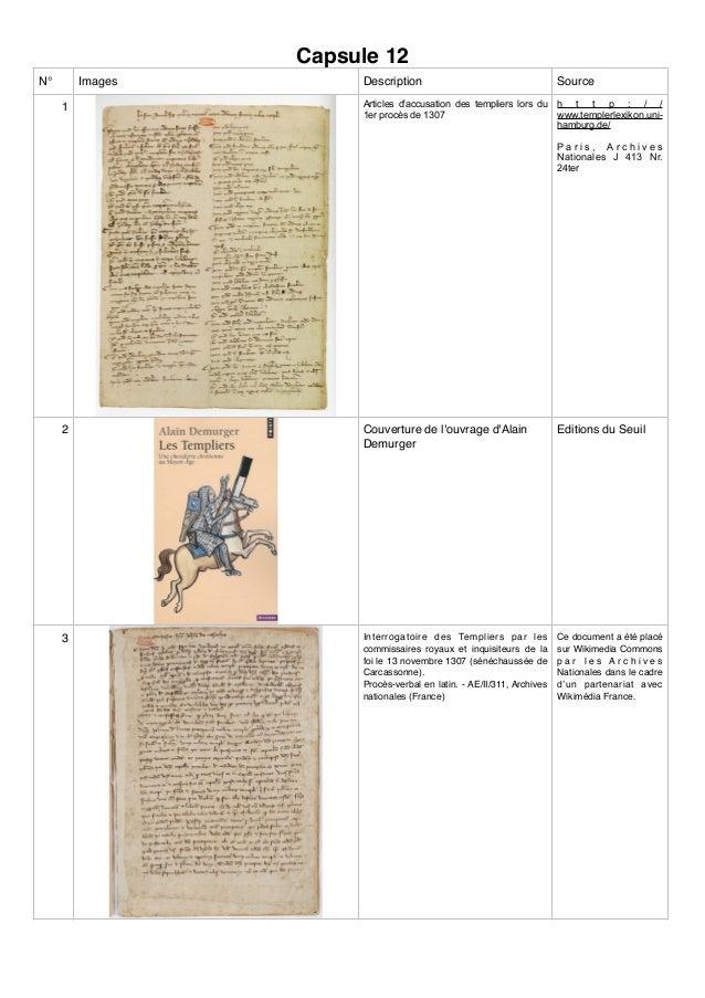 Capsule 12 N° Images Description Source 1 Articles d'accusation des templiers lors du 1er procès de 1307 h t t p : / / www...