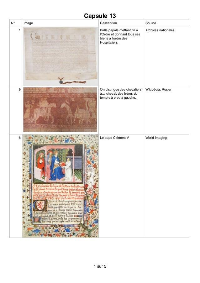 Capsule 13 N° Image Description Source 1 Bulle papale mettant fin à l'Ordre et donnant tous ses biens à l'ordre des Hospita...