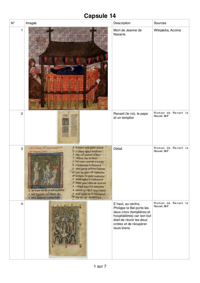 Capsule 14 N° Images Description Sources 1 Mort de Jeanne de Navarre Wikipédia, Acoma 2 Renard (le roi), le pape et un tem...