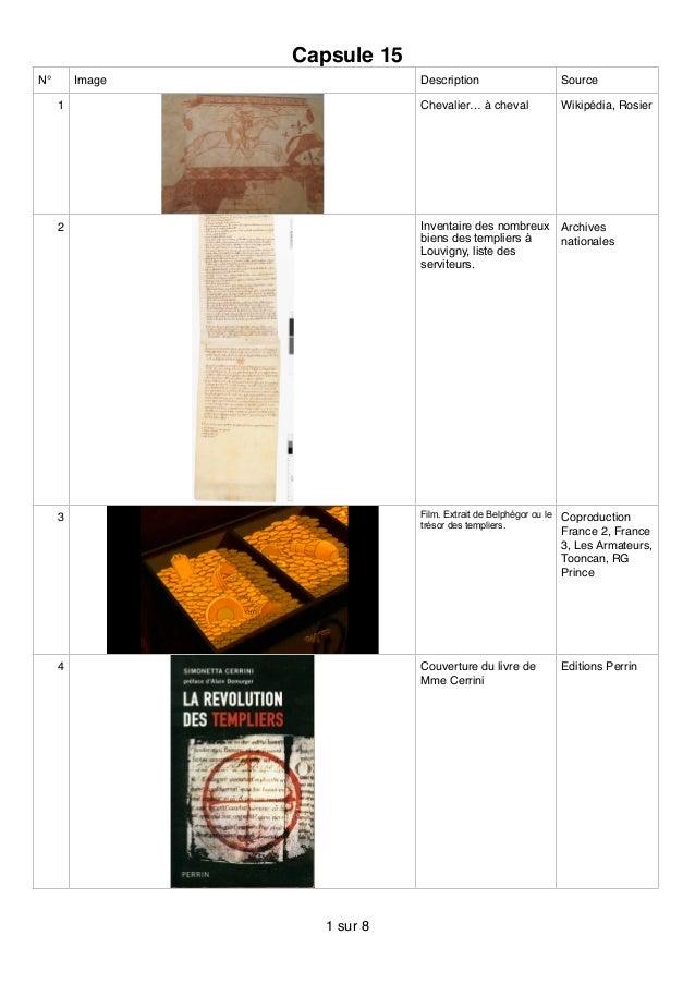 Capsule 15 N° Image Description Source 1 Chevalier… à cheval Wikipédia, Rosier 2 Inventaire des nombreux biens des templie...