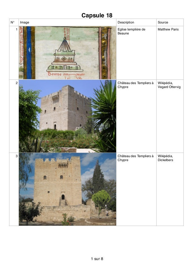 Capsule 18 N° Image Description Source 1 Eglise templière de Beaune Matthew Paris 2 Château des Templiers à Chypre Wikipéd...