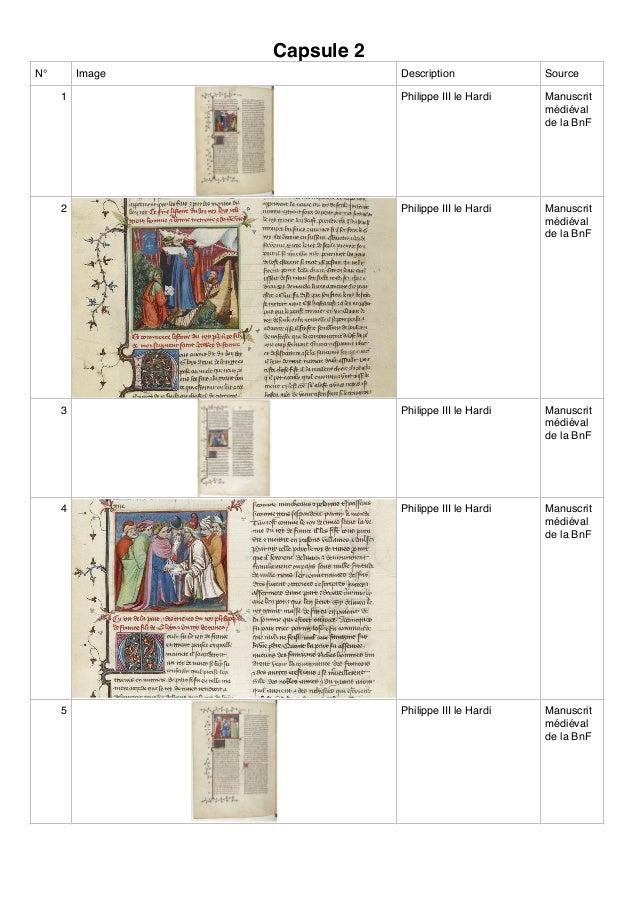 Capsule 2 N° Image Description Source 1 Philippe III le Hardi Manuscrit médiéval de la BnF 2 Philippe III le Hardi Manuscr...