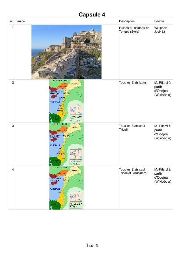 Capsule 4 n° Image Description Source 1 Ruines du château de Tortues (Syrie) Wikipédia JoeH83 2 Tous les Etats latins M. P...