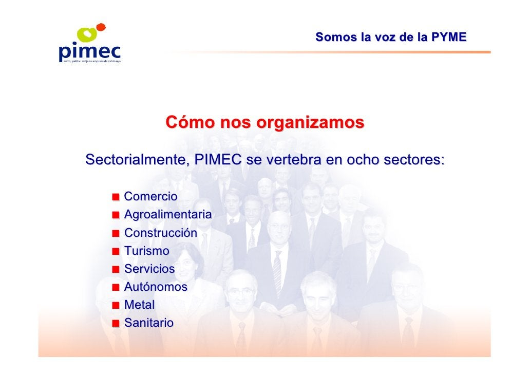 Somos la voz de la PYME                 Cómo nos organizamos  Sectorialmente, PIMEC se vertebra en ocho sectores:     ■ Co...
