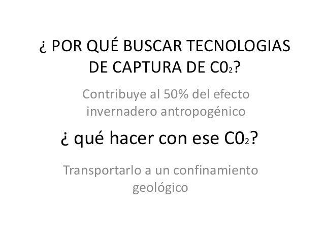 ¿ POR QUÉ BUSCAR TECNOLOGIAS      DE CAPTURA DE C02?     Contribuye al 50% del efecto      invernadero antropogénico  ¿ qu...