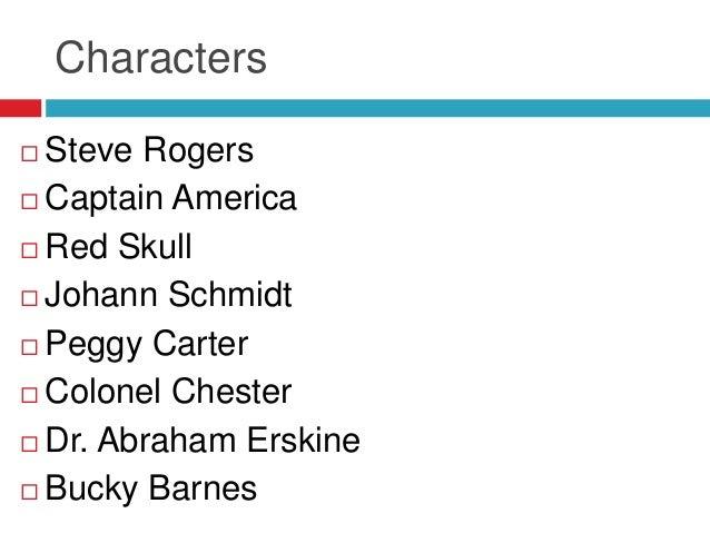 Characters Steve Rogers Captain America Red Skull Johann Schmidt Peggy Carter Colonel Chester Dr. Abraham Erskine ...