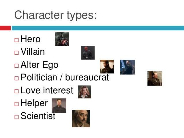 Character types: Hero Villain Alter Ego Politician / bureaucrat Love interest Helper Scientist