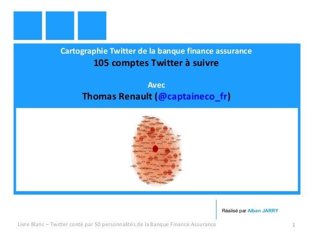 Cartographie Twitter de la banque finance assurance  105 comptes Twitter à suivre  Avec  Thomas Renault (@captaineco_fr)  ...