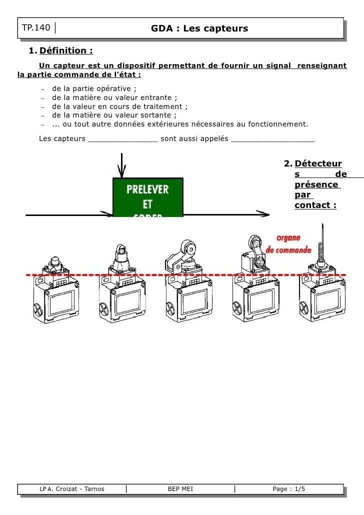TP.140                             GDA : Les capteurs      1. Définition :      Un capteur est un dispositif permettant de...