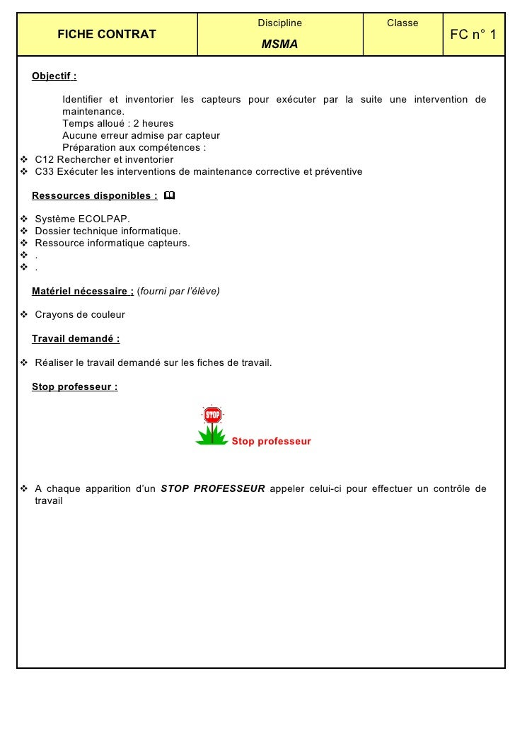 Discipline         Classe          FICHE CONTRAT                                                              FC n° 1     ...