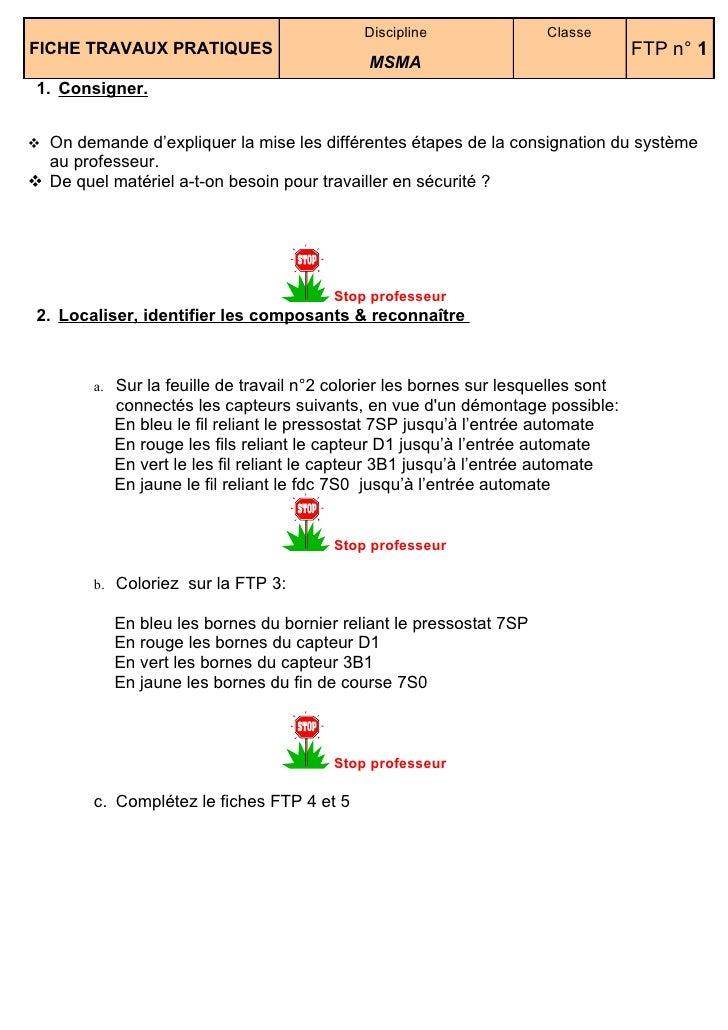 Discipline               Classe FICHE TRAVAUX PRATIQUES                                                            FTP n° ...