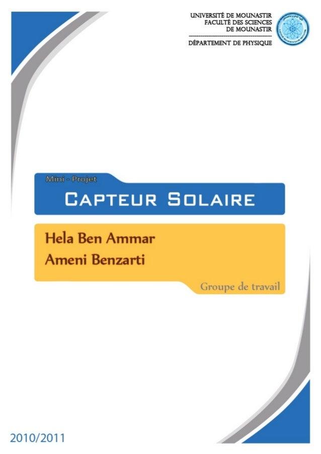 Mini-projet Capteur Solaire                              1