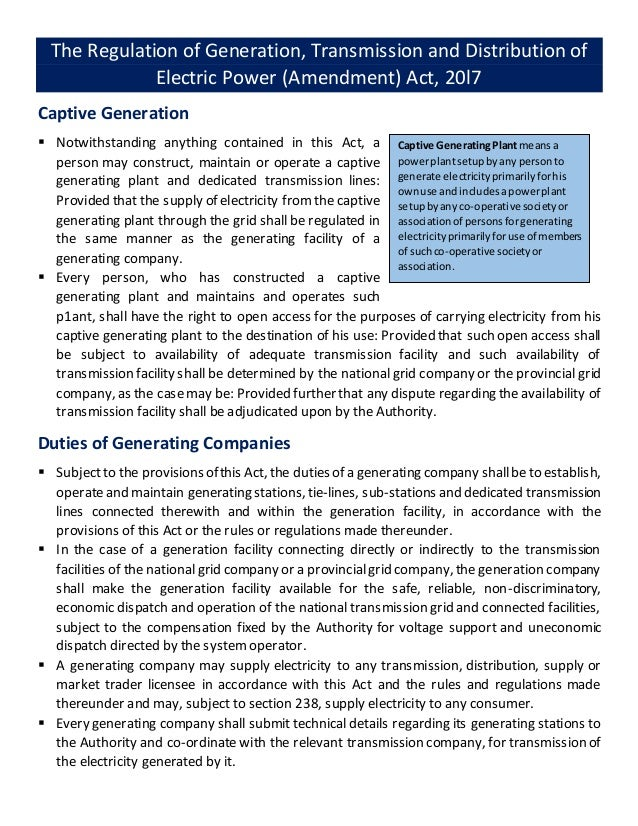 The Regulation of Generation, Transmission and Distribution of Electric Power (Amendment) Act, 20l7 Captive Generation  N...