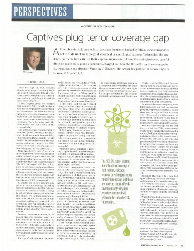 Captives Plug Terror Coverage Gap by Matthew Howard