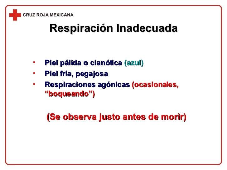 <ul><li>Piel pálida o cianótica  (azul) </li></ul><ul><li>Piel fría, pegajosa </li></ul><ul><li>Respiraciones agónicas  (o...