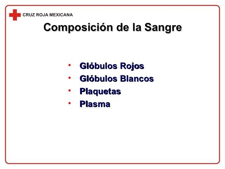 Composición de la Sangre <ul><li>Glóbulos Rojos </li></ul><ul><li>Glóbulos Blancos </li></ul><ul><li>Plaquetas </li></ul><...