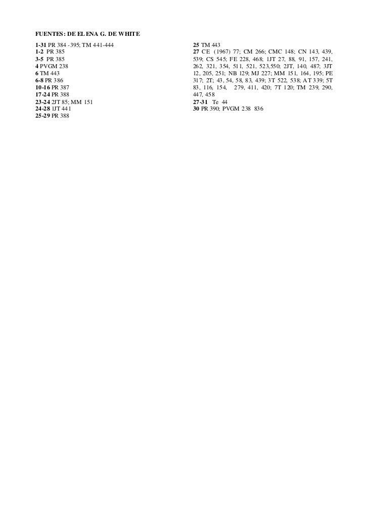 FUENTES: DE EL ENA G. DE WHITE1-31 PR 384 -395; TM 441-444     25 TM 4431-2 PR 385                       27 CE (1967) 77; ...