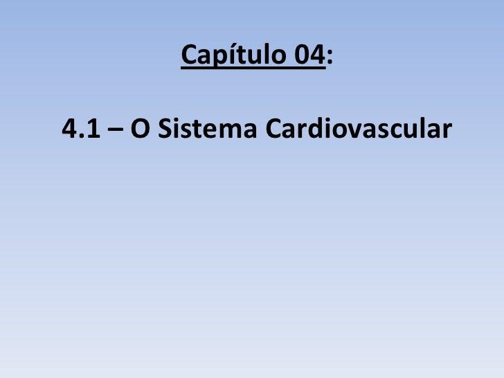 Capítulo 04:4.1 – O Sistema Cardiovascular