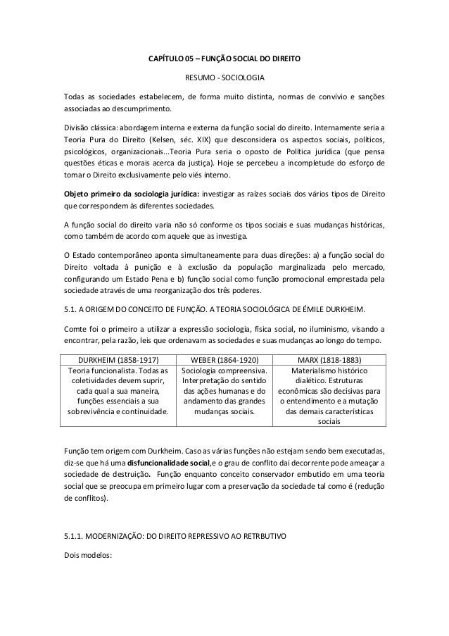 CAPÍTULO 05 – FUNÇÃO SOCIAL DO DIREITO                                    RESUMO - SOCIOLOGIATodas as sociedades estabelec...