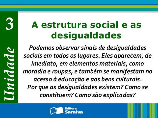Unidade 3 A estrutura social e as desigualdades Podemos observar sinais de desigualdades sociais em todos os lugares. Eles...
