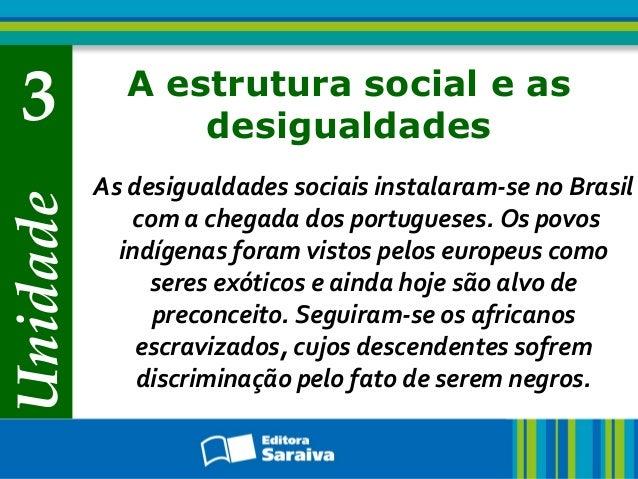 3 A estrutura social e as  Unidade  desigualdades  As desigualdades sociais instalaram-se no Brasil  com a chegada dos por...