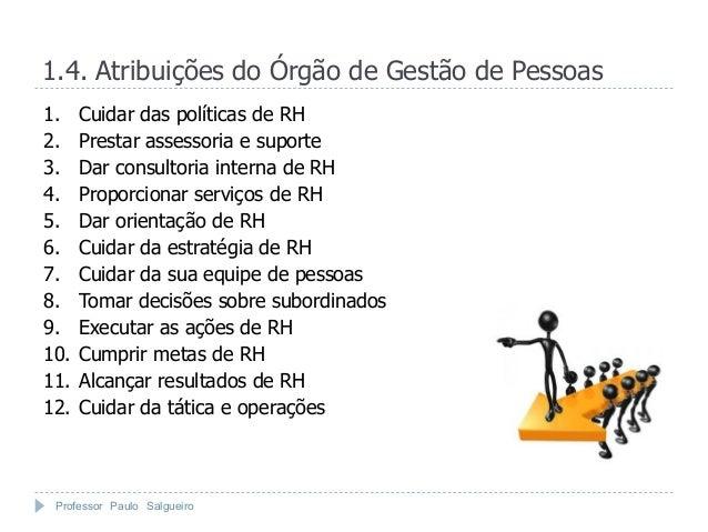 1.4. Atribuições do Órgão de Gestão de Pessoas1.    Cuidar das políticas de RH2.    Prestar assessoria e suporte3.    Dar ...