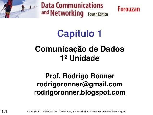 1.1 Capítulo 1 Comunicação de Dados 1º Unidade Prof. Rodrigo Ronner rodrigoronner@gmail.com rodrigoronner.blogspot.com Cop...