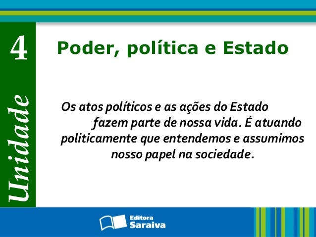 Unidade 4 Poder, política e Estado Os atos políticos e as ações do Estado fazem parte de nossa vida. É atuando politicamen...