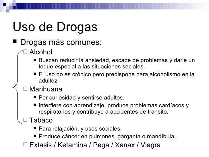 Uso de Drogas <ul><li>Drogas más comunes: </li></ul><ul><ul><li>Alcohol </li></ul></ul><ul><ul><ul><li>Buscan reducir la a...