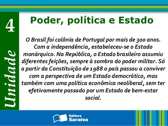 Unidade 4 Poder, política e Estado O Brasil foi colônia de Portugal por mais de 300 anos. Com a independência, estabeleceu...