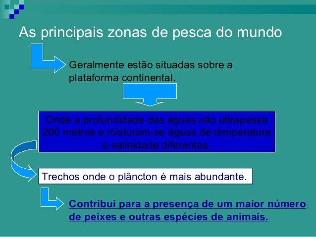 As principais zonas de pesca do mundo        Geralmente estão situadas sobre a        plataforma continental.    Onde a pr...